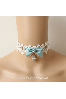 Lolita Little Freshness Lace White Crucifix Bow Necklace