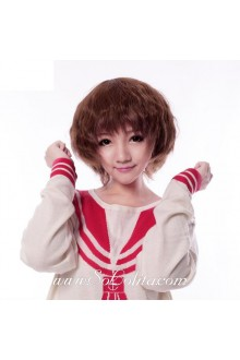 Light Brown Slightly Curled Short Sweet Roleplay Lolita Wig