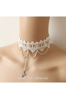 Lolita Lace White Crucifix Christmas Stylish Partys Queen Necklace