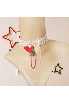 Lolita Lace White Casual Street Map Necklace