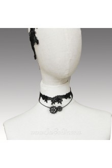 Lolita Black Stylish Punk Gear Lace Necklace