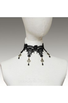 Lolita Lace Black Pearl Floral Necklace