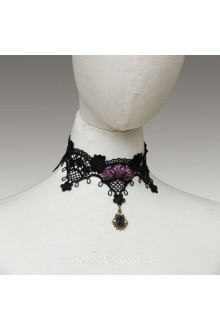 Lolita Punk Lace Black Purple Roses Necklace