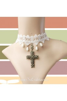 Lolita White Bridal Crucifix Pearl Lace Necklace