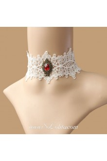 Lolita White Bridal Cameo Lace Necklace