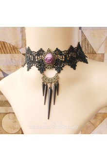 Lolita Punk Party Charming Lace Black Rose Fringeds Necklace