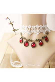 Lolita Lace White Bridal Stylish Red Cameo Necklace
