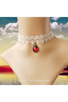 Lolita White Drop Lace Bridal Stylish Red Cameo Necklace