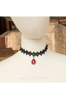 Lolita Black Drop Lace Bridal Stylish Red Cameo Necklace