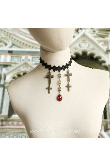 Lolita Black Drop Lace Bridal Stylish Red Cameo Crucifix Necklacce