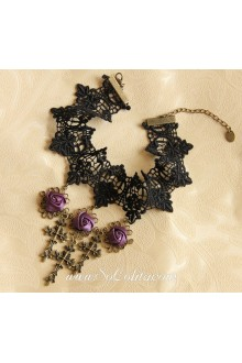 Lolita Lace Black Purple Rose Crucifix Necklace