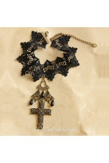 Lolita Crucifix Lace Black Cherry Necklace