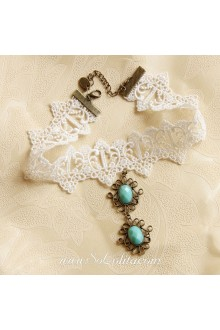 Lolita Bride Vintage Cameo Crucifix Lace White Necklace