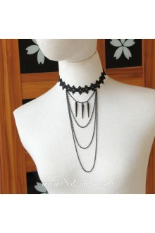 Lolita Lace Black Fringed Stylish Necklace