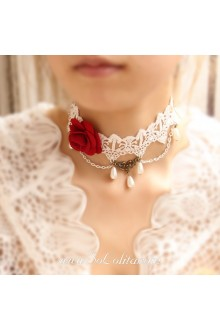 Lolita Vintage Royal Court Rose Pearl Lace White Necklace