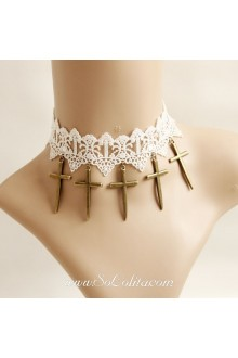 Lolita Crucifix Cute Bride Lace White Necklace