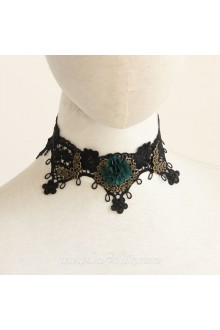 Lolita Elegant Vintage Lace Black Floral Necklace