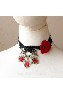 Lolita Lace Black Floral Cameo Elegant Necklace