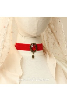 Lolita Red Velvet Ribbon Bride Vintage Stylish Cameo Necklace