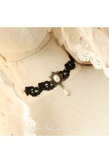 Lolita Lace Black Pearl Jewel Bridal Stylish Necklace
