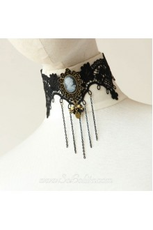 Lolita Vintage Stylish Lace Black Fringed Beauty Head Necklace