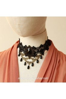 Lolita Black Vintage Stylish Lace Pearl Necklace