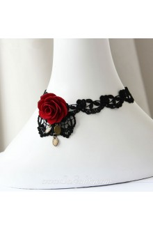 Lolita Lace Black Punk Red Rose Floral Stylish Necklace