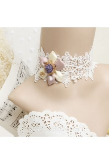 Lolita Vintage Floral Royal Court Lace White Necklace