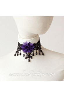 Lolita Punk Lace Black Pearl Vintage Floral Necklace