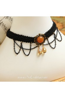 Lolita Artificial Crystal Royal Court Vintage Lace Black Necklace