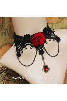 Lolita Punk Lace Black Red Roses Cameo Vintage Court Necklace