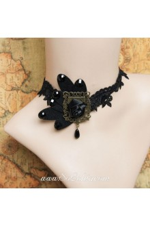 Lolita Punk Lace Black Black Roses Vintage Court Necklace