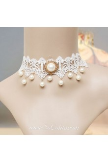 Lolita Bridal Pearl Elegant Lace White Necklace