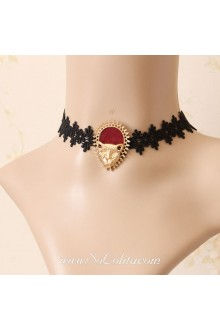 Lolita Stylish Leopard Head Lace Black Necklace
