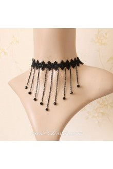 Lolita Stylish Lace Black Fringeds Necklace