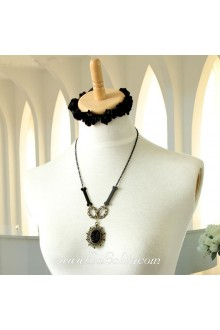 Lolita Punk Black Cameo Stylish Sweater Chain