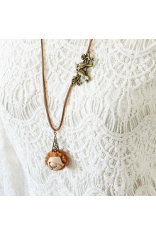 Brown Cute Pink Rose Lolita Sweater Chain