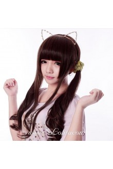 Neat Bang Long Curl Brown Sweet Roleplay Lolita Wig