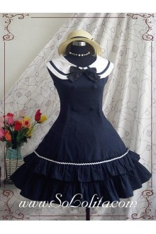 Academy Style Navy Slim Bow Fold Princess Dress