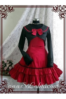 Academy Style Red Slim Bow Princess Dress