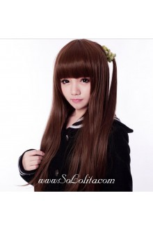 Neat Bang Long Straight Brown Sweet Roleplay Lolita Wig