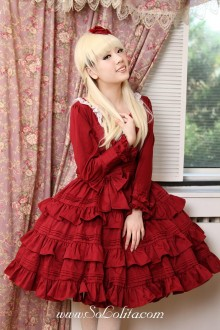 Original Retro Alice long sleeve Wine Red Flounced Classic Lolita Dress