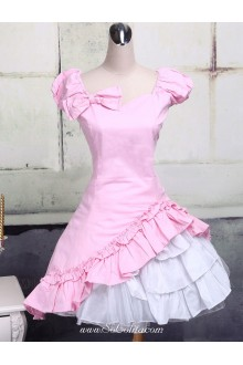 Pink Sweetheart Short Sleeves Ruffles Classic Lolita Dress