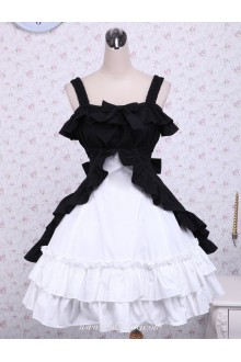Cotton Three-Layers Bows Black And White Classic Lolita Dress