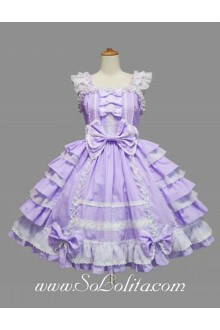 Lolita Purple Cotton Square Neck Cap Sleeve knee-length Ruffles Bow Sweet Dress