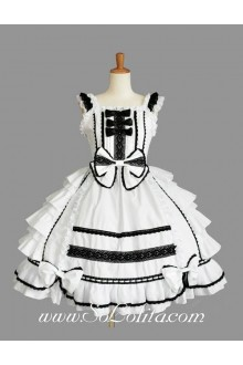 Lolita White Cotton Black Lace Square Neck Cap Sleeve knee-length Ruffles Bow Sweet Dress