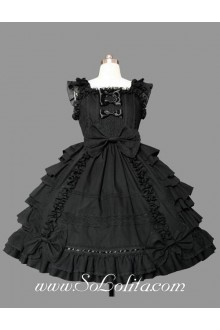Lolita Plain Black Cotton Square Neck Cap Sleeve knee-length Ruffles Bow Sweet Dress