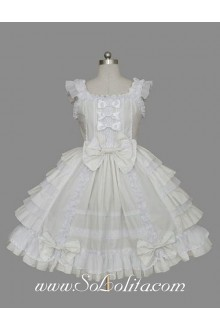 Lolita White Cotton Square Neck Cap Sleeve knee-length Ruffles Bow Sweet Dress
