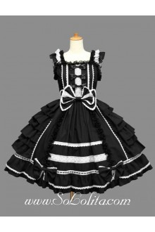 Lolita Black Cotton White Lace Square Neck Cap Sleeve knee-length Ruffles Bow Sweet Dress