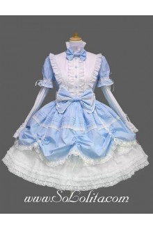 Lolita Sky Blue Cotton Stand Collar Long Sleeves knee-length Bow Splicing Dress